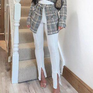 Glamaker High Waist Solid Casual Trousers Women Bodycon Split Pants Female Office Lady Fashion Pants Elegant Patalon Bottoms