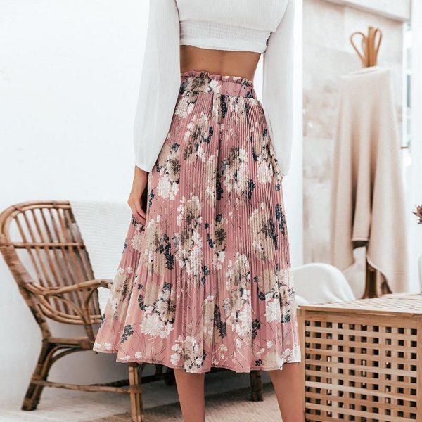 Bohemian Pink Pleated Skirt