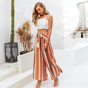Simplee Split Striped Lady Wide Leg Pants Women Summer Beach High Waist Trousers Chic Streetwear Sash Casual Pants Tassle Female
