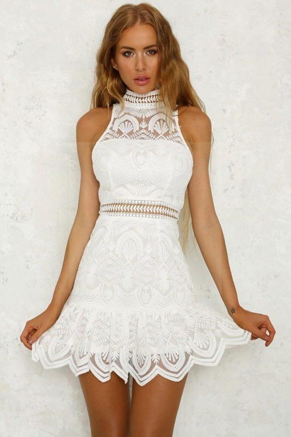 White bohemian hippie chic dress