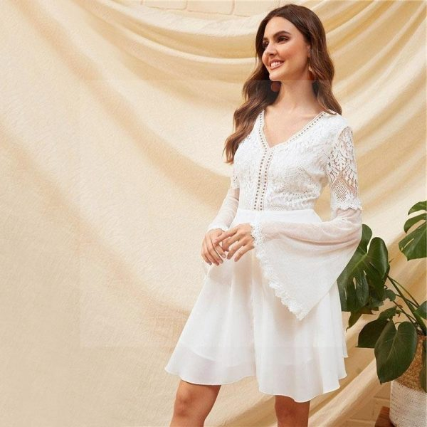Bohemian white lace dress