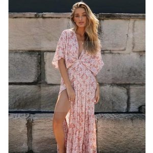 Bohemian chic pale pink maxi dress