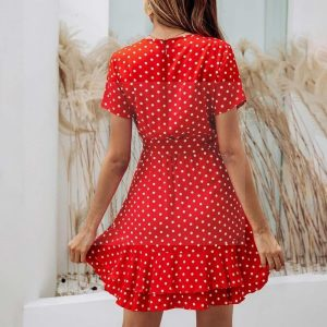 Bohemian style short red dress